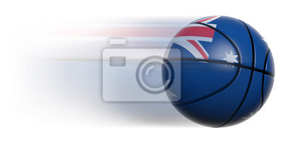 Basketball ball with flag of Australia in motion isolated