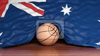 Basketball ball with flag of Australia on parquet floor