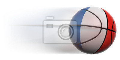 Basketball ball with flag of France in motion isolated
