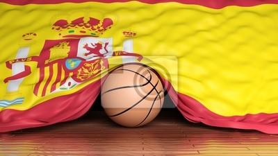 Basketball ball with flag of Spain on parquet floor