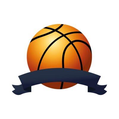 basketball balloon sport with ribbon