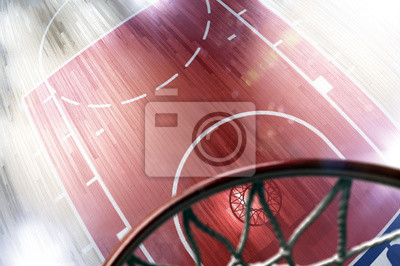 Basketball court floor and hoop 3d render. Floor is motion blur. hoop is unfocused shine