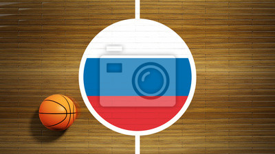 Basketball court parquet floor center with flag of Russia