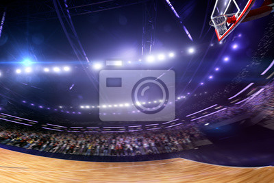 Basketball court wide view. all cort in a little motion blur. blue toning