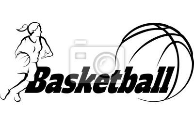 Basketball-Frau, die zu Korb mit stilisiertem Ball mit Wort Basketball fährt