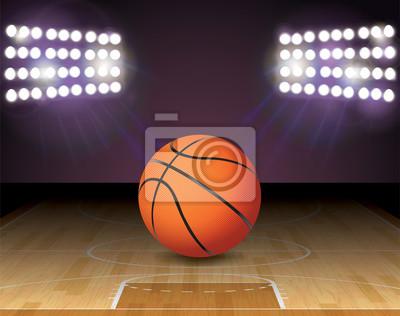 Basketball Gericht Ball Lichter und Hoop Illustration