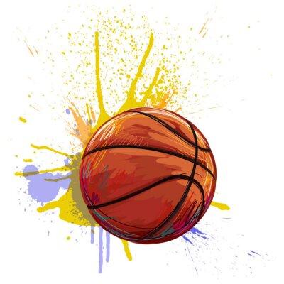 Basketball Gestaltet von professionellen Künstler. Diese Darstellung wird von Wacom tabletby mit Grunge Texturen und Pinsel erstellt