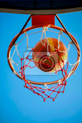 Basketball hoop ball blue sky