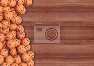 Basketball-Kugeln auf Holzboden Hintergrund mit copy-space.3D Rendering