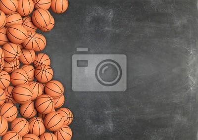 Basketball-Kugeln auf Tafel Hintergrund mit copy-space.3D Rendering