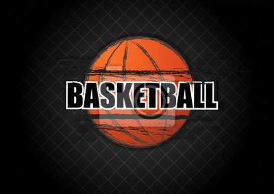 Basketball-Logo Grunge Splatter mit Tippfehler auf schwarzem Netz Hintergrund