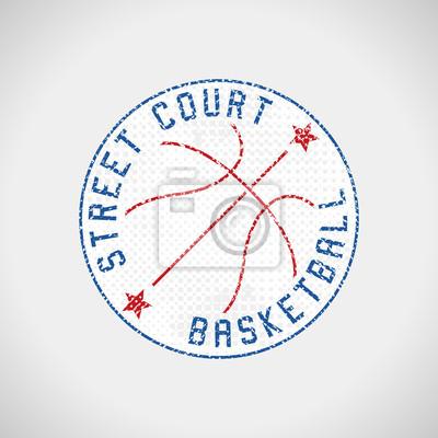 Basketball-Logo-Straßengericht-Schmutzemblem-Vektorillustration