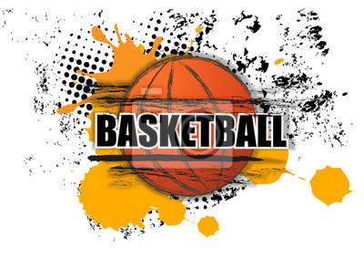 Basketball Malerei Grunge Splatter mit Tippfehler auf weißem Hintergrund