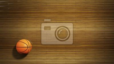 Basketball Parkettboden mit klassischen Ball