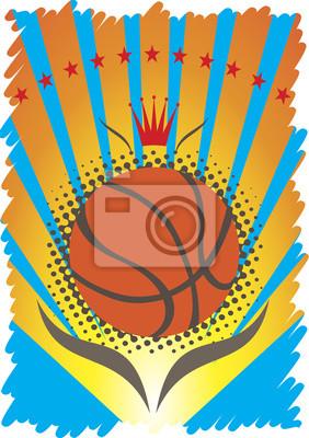 Basketball-Plakat mit roter Krone und Sternen