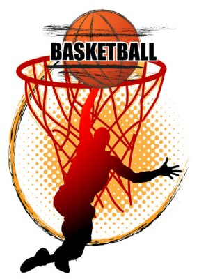 Basketball player is Jumping to shoot the ball on white background