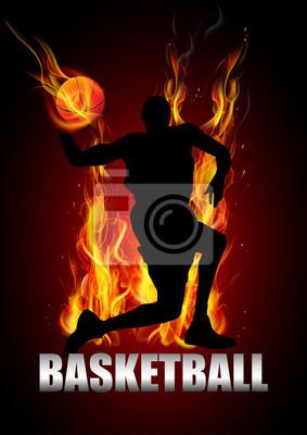 basketball player is jumping to shooting ball vector