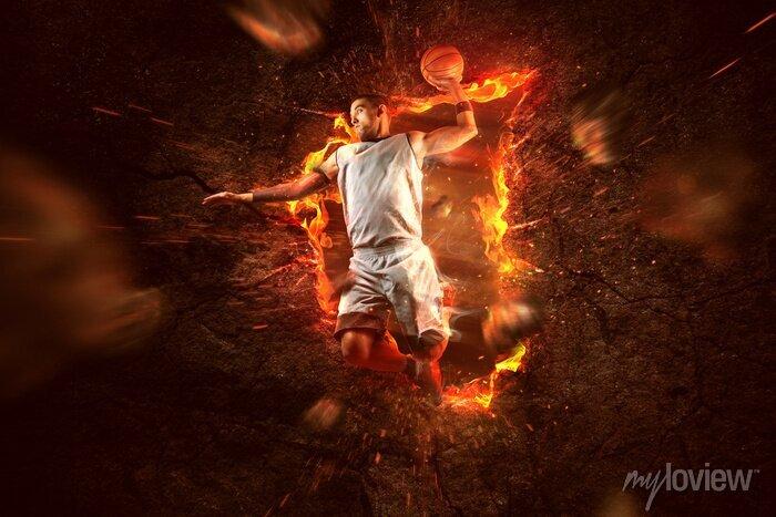 Fototapete Basketball Player on Fire