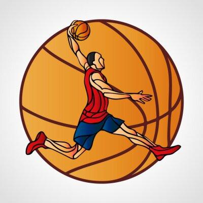 basketball player slam dunk color illustration vector eps10