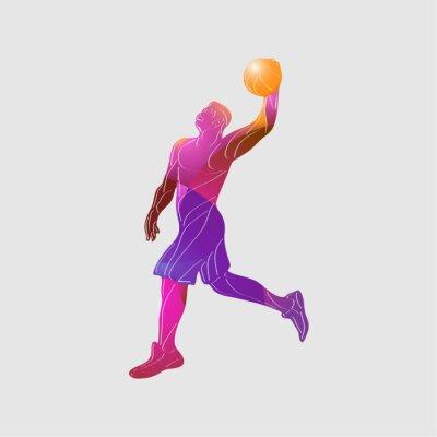 Basketball player Slam Dunk Color Vector Silhouette
