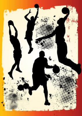 basketball player team in many postures on grunge graphic