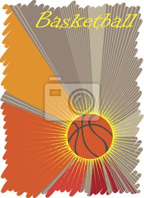 Basketball  poster with yellow sun