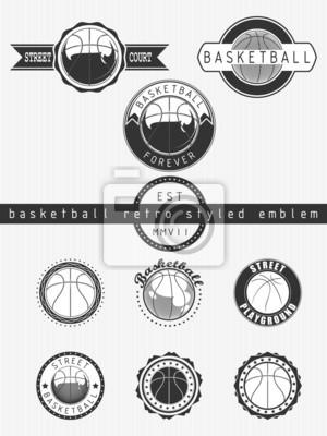 Basketball retro styled emblem