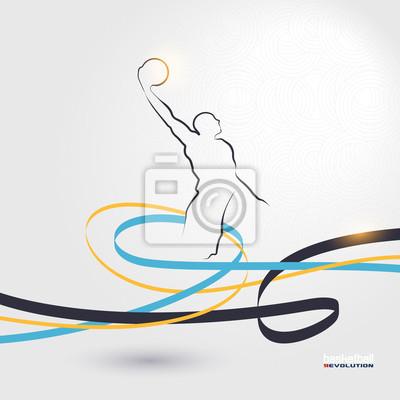 Basketball-Revolution Silhouette von Basketball-Spieler auf moderne