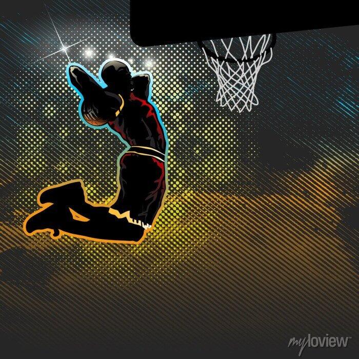 Fototapete Basketball-Spieler geht für zwei Handed Dunk