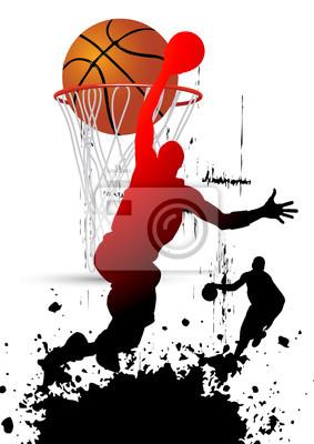 Basketball-Spieler in springen mit weißem Hintergrund