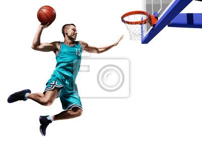 Fototapete Basketball-Spieler machen Slam Dunk isoliert