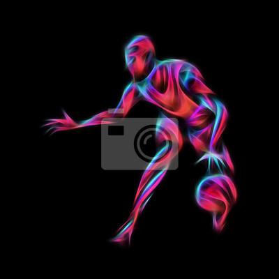 Basketball-Spieler Neon Glow Silhouette