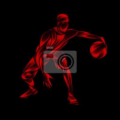 Basketball-Spieler Red Glow Silhouette auf schwarz