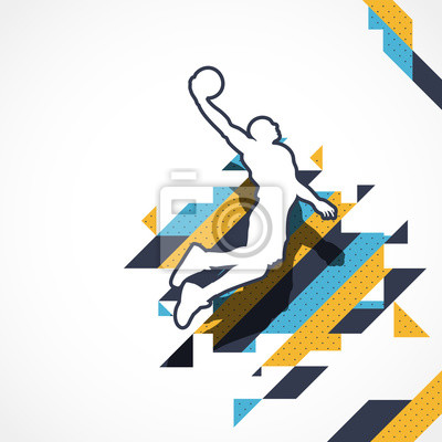 Basketball-Spieler-Schattenbildspieler springen für den Slam Dunk auf abstraktem Streifenhintergrund
