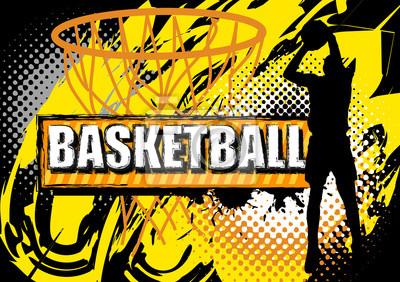 Basketball-Spieler Schießen Ball auf Grunge-Hintergrund