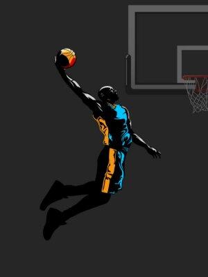Basketball-Spieler springt zu tauchen