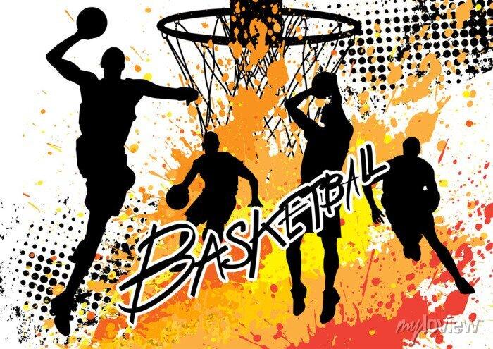 Fototapete Basketball-Spieler-Team auf weißem Hintergrund Grunge
