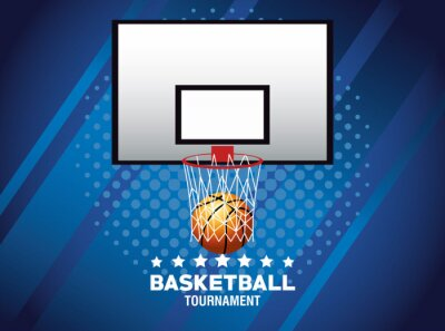 basketball sport poster with balloon in basket