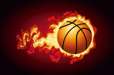 basketball sport poster with balloon on fire