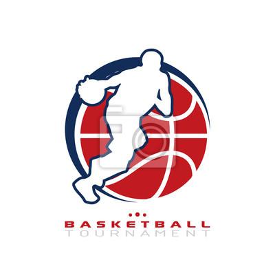 Basketball-Turnier-Logo. Silhouette der Basketball-Spieler dribbeln den Ball isoliert auf weißem Hintergrund.