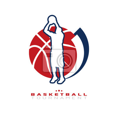 Basketball-Turnier-Logo. Silhouette der Basketball-Spieler schießt für den Reifen isoliert auf weißem Hintergrund.