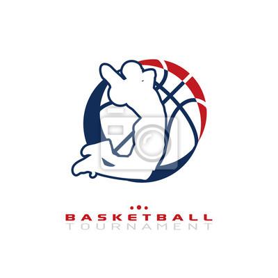 Basketball-Turnier-Logo. Silhouette der Basketball-Spieler springen für die Dunk isoliert auf weißem Hintergrund.