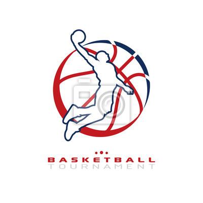 Basketball-Turnier-Logo. Silhouette der Basketball-Spieler springen für die Slam Dunk isoliert auf weißem Hintergrund.