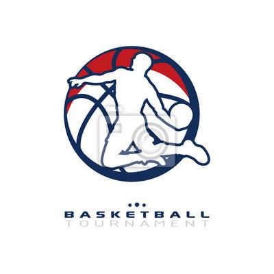 Basketball-Turnier-Logo. Silhouette der Basketball-Spieler springen isoliert auf weißem Hintergrund.