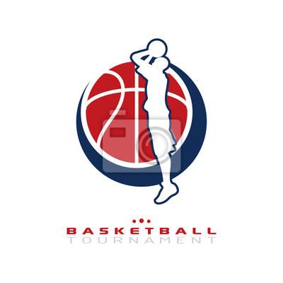 Basketball-Turnier-Logo. Silhouette der Basketball-Spieler springen Triebe für den Reifen isoliert auf weißem Hintergrund.