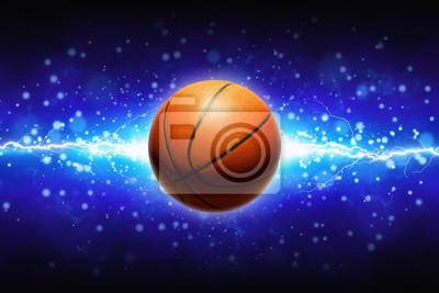 Basketball und kräftiger blauer Blitz