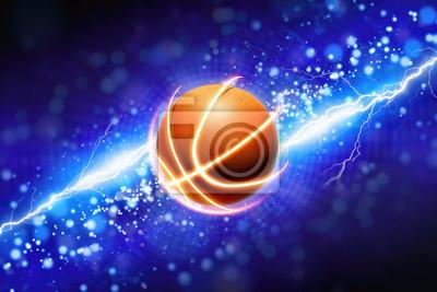 Basketball und kraftvoller blauer Blitz