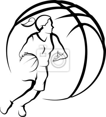 Basketball weiblicher drivingto Korb mit stilisiertem Ball.