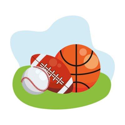 basketball with american football and baseball sports balls