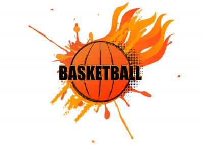 Basketball with grunge splatter and fire on white background